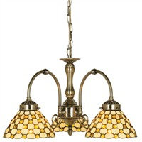 Picture of Brown Raindrop Tiffany Antique Brass 3 Light