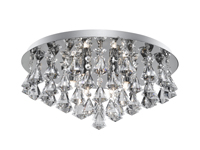 Picture of Hanna 8 Light Chrome Flush Fitting Complete with Diamond Shape Crystal
