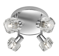 Picture of Triton Chrome 4 Light Spot Round - Clear Glass Shade