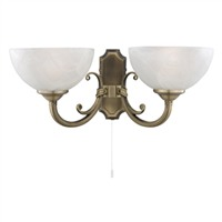 Picture of 2 Light Antique Brass Wall Bracket - Marble Glass