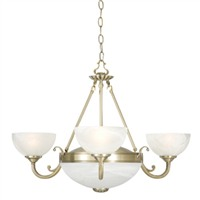 Picture of 5 Light Antique Brass Fitting - Marble Glass