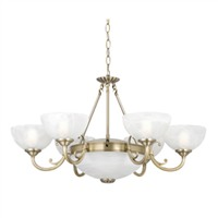 Picture of 8 Light Antique Brass Fitting - Marble Glass
