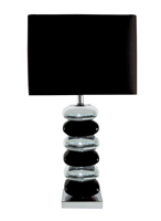 Picture of Pair Black/ Chrome Pillow Stack Table Lamps