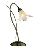 Picture of 1 Light Antique Brass Table Lamp - Amber Petal Glass