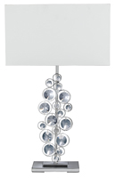 Picture of Chrome Table Lamp Crystal Decor White Shade