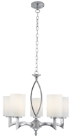 Picture of Chrome 5 Light Fitting - White Glass Cylinder Shade