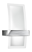 Picture of Chrome 1 Light Wall Bracket - Curved Clear/Frosted Glass