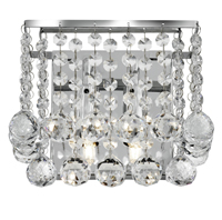 Picture of Chrome 2 Light Square Wall Bracket - Clear Crystal Balls