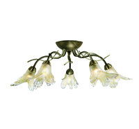 Picture of 5 Light Antique Brass Semi Flush Finish Amber Petal Glass