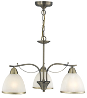 Picture of 3 Light Antique Brass Fitting with White Glass and Antique Rim