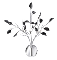 Picture of 3 Light Chrome Wall Light White Black Leaf