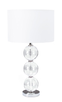 Picture of Pair Chrome Glass Table Lamp`S Complete with White Shades