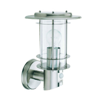Picture of Outdoor Satin Silver Wall Light Complete with Sensor