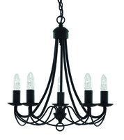 Picture of 5 Light Matt Black Wrought Iron Fitting