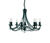 Picture of 8 Light Matt Black Wrought Iron Fitting