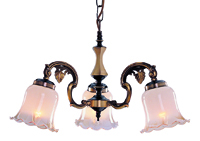 Picture of 3 Light Antique Brass Fitting Complete with Glass