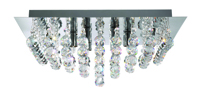 Picture of 4 Light Chrome Square Flush Fitting Complete with Crystal Balls