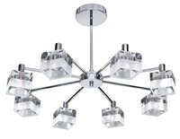 Picture of 8 Light Chrome Fitting with Frosted Clear Cube Glass