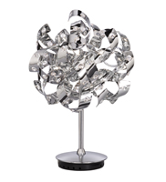 Picture of 6 Light Chrome Curls Table Lamp Glass Beads