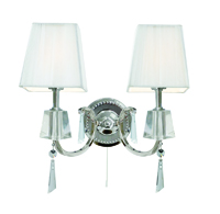 Picture of 2 Light Chrome and Glass Wall Bracket with White String Shades