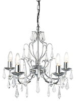 Picture of 5 Light Modern Chrome Chandelier Complete with Crystal