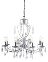 Picture of 8 Light Modern Chrome Chandelier Complete with Crystal