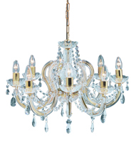 Picture of 8 Light Polished Brass Marie Therese Crystal Fitting