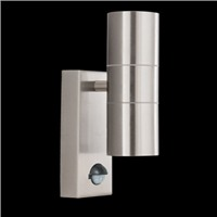 Picture of 2 Light Satin Silver Sensor Tube Outdoor Wall Bracket