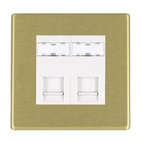 Picture of Hartland Screwless SB/WH 2 Gang RJ12 Outlet - Unshielded Outlet