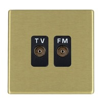 Picture of Hartland Screwless SB/BL 2 Gang Isolated TV/FM 1 in/2 out Coaxial Socket