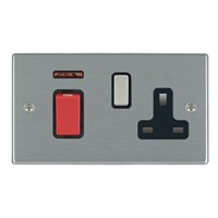 Picture of Hartland SS/BL 1 Gang 45A Double Pole Red + Neon Switch + 1 Gang 13A Switched Socket