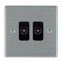 Picture of Hartland SS/BL 2 Gang Non Isolated Television 2 in/2 out Coaxial Socket
