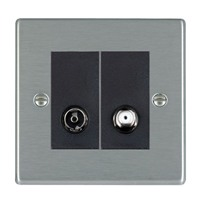 Picture of Hartland SS/BL 1 Gang TV + 1 Gang Satellite Coaxial Socket
