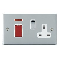 Picture of Hartland BC/WH 1 Gang 45A Double Pole Red Switch + Neon + 1 Gang 13A Switched Socket