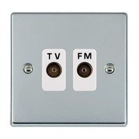 Picture of Hartland BC/WH 2 Gang Isolated TV/FM 1 in/2 out Coaxial Socket