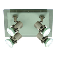 Picture of 4 Light Satin Silver/ Glass Square Spotlight
