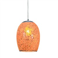 Picture of 1 Light Orange Crackle Glass Pendant