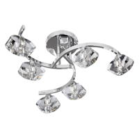Picture of Sculptured Ice 6 Light Chrome Curve Semi Flush - Clear Glass