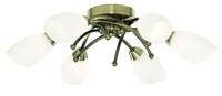 Picture of 6 Light Antique Brass Flush with Opal Glass