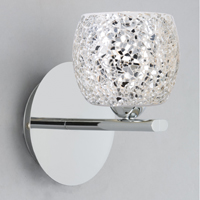 Picture of 1 Light Chrome Wall Bracket  - Mirrored Crackle Glass