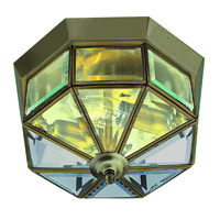 "Picture of Antique Brass 9"" Flush Clear Glass Fitting"