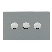 Picture of Sheer Screwless SS/WH 3 Gang 2 WAY 400W Push On/Off Resistive Dimmer
