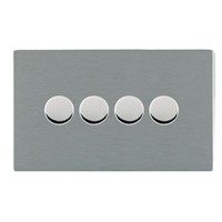 Picture of Sheer Screwless SS/WH 4 Gang 2 WAY 400W (Max wattage per Gang is 300W) Push On/Off Resistive Dimmer