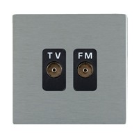 Picture of Sheer Screwless SS/BL 2 Gang Isolated TV/FM 1 in/2 out Coaxial Socket