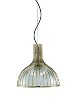Picture of 1 Light Antique Brass Ribbed Pendant Lantern