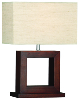 Picture of Dark Wood Square Table Lamp complete with Shade