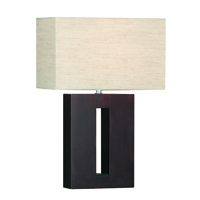 Picture of Dark Wood Rectangular Table Lamp complete with Shade