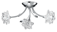 Picture of 3 Light Chrome Fitting - Clear Flower Glass