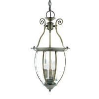 Picture of 3 Light Bowed Bevelled Glass Antique Brass Lantern