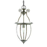 Picture of 1 Light Antique Brass Bowed Glass Lantern